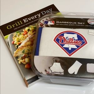 Grilling Cookbook & NWT Phillies Barbecue Set